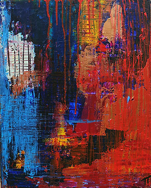 Abstract blue orangered gold